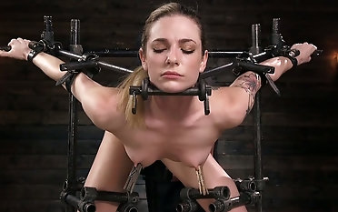 Succulent damsel Dahlia Sky is trussed up and disciplined by one ultra-kinky perv