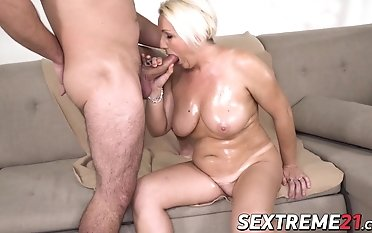 Hard-core plowing session with sizzling platinum-blonde enormous globes grandmother
