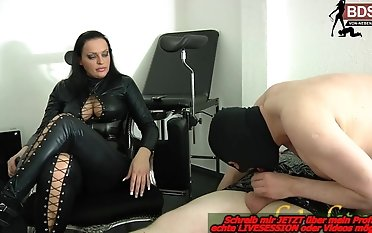 Sub must do oral job - lession at german sadism & masochism female dominance mistress