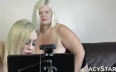 Obese GILF pulverized with big fuck stick by big-chested dyke stunner