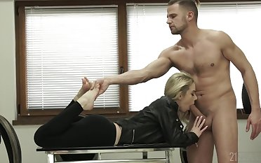 Slut grabs her paws and sucks cock for her guy