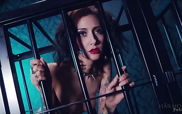 Whore in the cage Havana Sins does everything their way kinky master desires