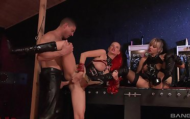 Obedient sluts roughly fucked by the same man in kinky scenes
