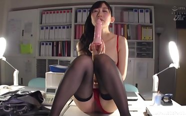 Japanese babe gets grim roughly her toy while elbow work