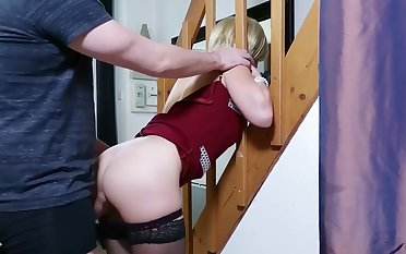 Step-mom stuck and get anal sex and cum in mouth wits step-son