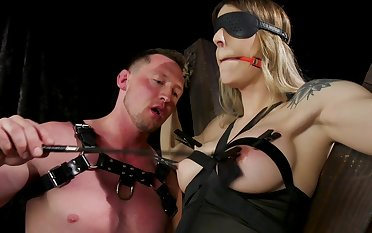 Bosomy shemale plays obedient for male master with huge dick