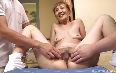 A remarkable threesome Japanese duplicate fool around involving a sexy granny