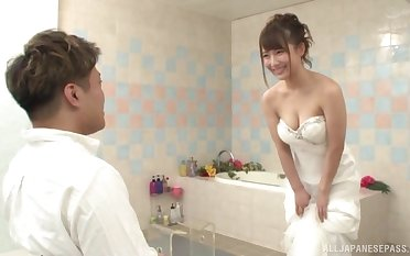 Japanese babe is about to get married, impede she wants the weary man's dick