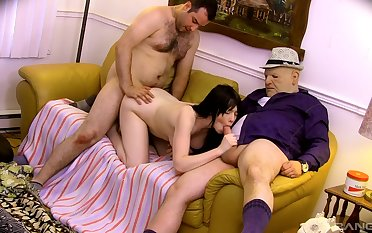 Teenage fucked in both holes by four experienced men