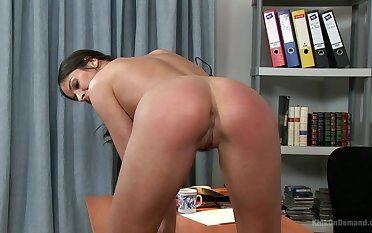 Solo pleasures in passionate scenes down at the office