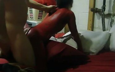 A Resemble Night Of Upbringing For My Slut Wife In Her Red Catsuit