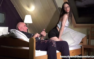 Passionate sundown love making between and old perv and Arwen Gold