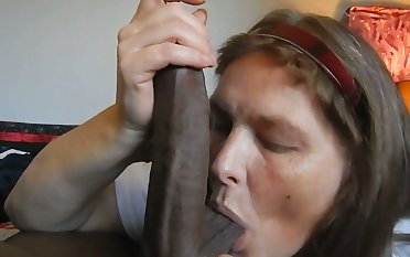 Sometimes a doll just a big black cock to suck on and this battle-axe loves my BBC