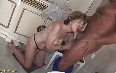 Hairy 70 life-span old mom anal sex with a boyfriend