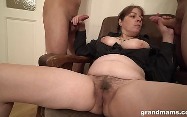 Chubby amateur slut licks ass be incumbent on two men with the addition of gets covered with cum