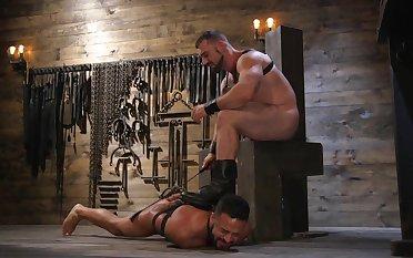 Gay lovers in scenes of brutal BDSM anal