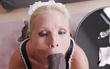 Mature maid Kathy Anderson drops her panties to loathing fucked by a BBC