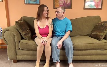 XXX brunette amateur with huge natural tits is ready to cede to this old guy have some fun!