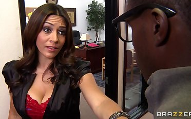Interracial sex essentially the office meals with facial for MILF Raylene