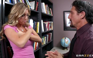 Fucking in the office ends there cum on boobs for morose Samantha Saint