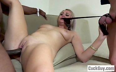 Elle McRae and her sissy cheating sharing a ebony stiffy