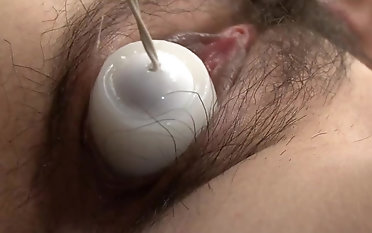Asian stunner raunchy fucktoy pornography for her wooly labia